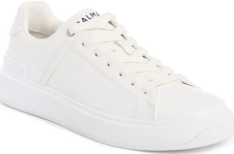 Balmain White and Black Leather B-Court Sneakers
