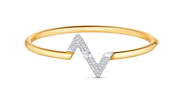 Louis Vuitton LV Volt Upside-Down Bracelet in Yellow and White Gold with Diamonds