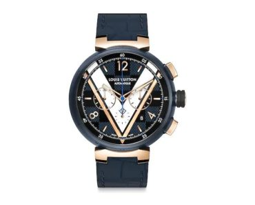 Louis Vuitton Tambour Daimer Cobalt Blue And Gold Chronograph 46