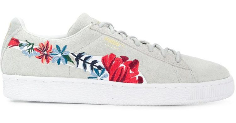 Puma Suede Hyper Embroidery Floral Lace Up Sneakers