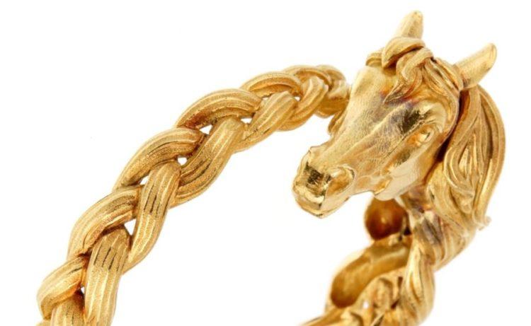 Hermes Horse Head Yellow Gold Bangle Bracelet