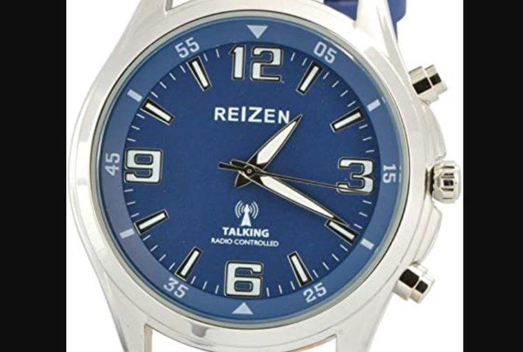 Reizen Talking Atomic Blue Dial Chrome Watch- Blue Leather Band