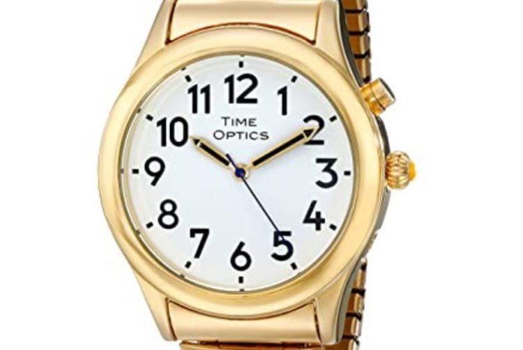 TimeOptics Men's Talking Gold-Tone Day Date Alarm Watch