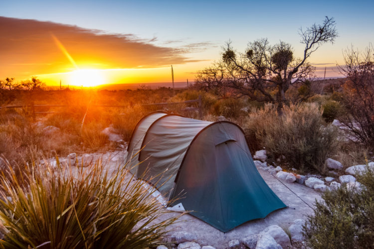 Camp at The Guadalupe Mountains National Park