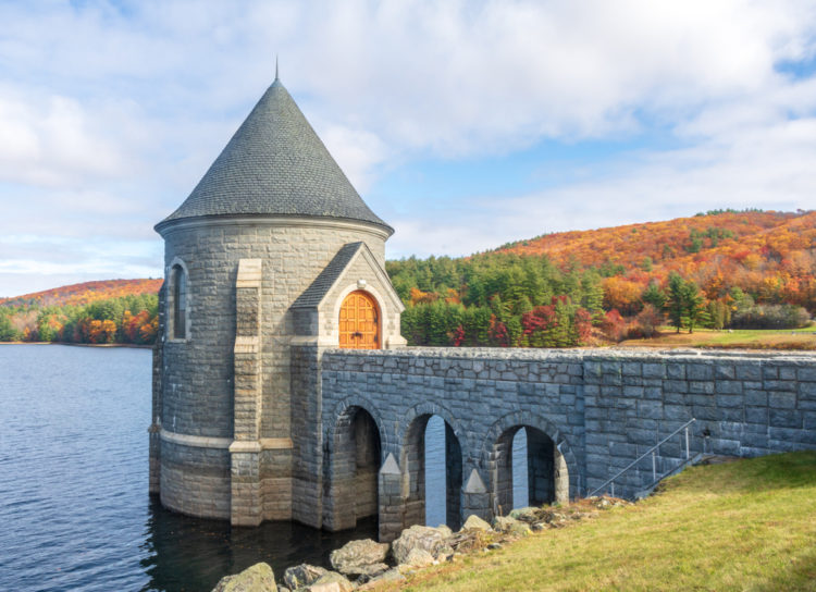 Admire the gatehouse tower at Saville Dam